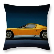 Lamborghini Miura 1966 Painting Throw Pillow
