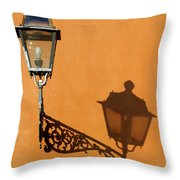 Lamp, Shadow And Burnt Umber Wall, Orvieto, Italy Throw Pillow