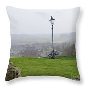 Lamppost And Bike. Throw Pillow