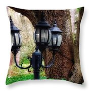 Lamppost And Oak Throw Pillow