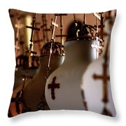 Lamps Inside The Church Of The Holy Sepulchre, Jerusalem Throw Pillow
