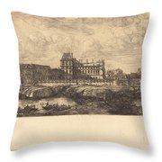 L'ancien Louvre D'apr?s Une Peinture De Zeeman, 1651 (the Old Louvre, From A Painting By Zeeman, L651) Throw Pillow