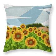 Land Of Sunflowers. Throw Pillow