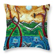 Land Of The Free Original Madart Painting Throw Pillow