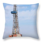Land Oil Drilling Rig With Equipment On Oilfield Throw Pillow