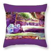 Landed Boats Throw Pillow