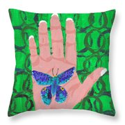 Landed On My Hand Throw Pillow
