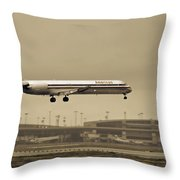 Landing At Dfw Airport Throw Pillow