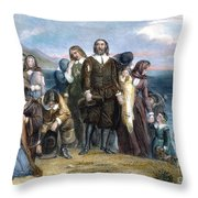 Landing Of Pilgrims, 1620 Throw Pillow