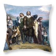 Landing Of Pilgrims, 1620 Throw Pillow by Granger