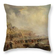 Landing The Shore End Of The Atlantic Cable Throw Pillow