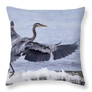 Landing With The Wave Throw Pillow