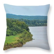 Landscape Along The Tennessee River At Shiloh National Military Park, Tennessee Throw Pillow