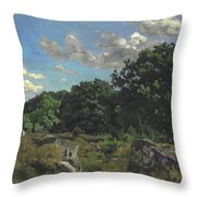 Landscape At Chailly Throw Pillow