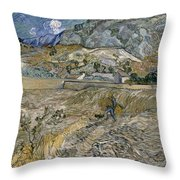 Landscape At Saint Remy Enclosed Field With Peasant Throw Pillow