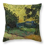 Landscape At Twilight Auvers Sur Oise June 1890 Vincent Van Gogh 1853  189 Throw Pillow