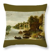 Landscape By A Riverside Town Throw Pillow