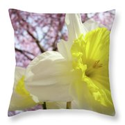 Landscape Daffodils Flowers Art Pink Tree Blossoms Spring Baslee Throw Pillow