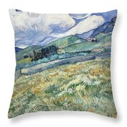 Landscape From Saint Remy At Wheat Fields  Van Gogh Series   By Vincent Van Gogh Throw Pillow