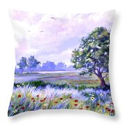 Landscape In Blues Throw Pillow