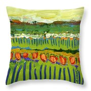Landscape In Green And Orange Throw Pillow