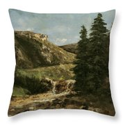 Landscape Near Ornans Throw Pillow