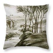 Landscape Near Osny  Throw Pillow
