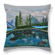 Landscape Of Tranquility And Storms  Throw Pillow
