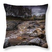 Landscape River And Bridge II Throw Pillow