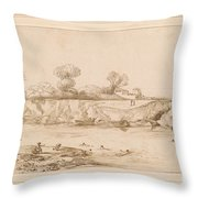 Landscape River With Bathers Throw Pillow