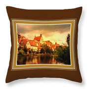 Landscape Scene - Germany. L B With Decorative Ornate Printed Frame. Throw Pillow