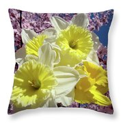 Landscape Spring Foral Yellow Daffodil Flowes Pink Blossoms Throw Pillow