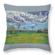Landscape Under A Turbulent Sky Throw Pillow