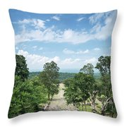 Landscape View From Preah Vihear Mountain In North Cambodia Throw Pillow