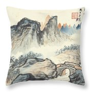 Landscape Village Throw Pillow