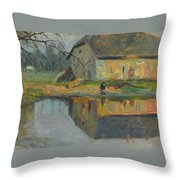 Landscape With A Barn Throw Pillow