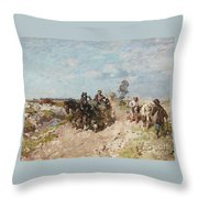 Landscape With A Hay Cart Throw Pillow