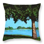 Landscape With A Lake And Tree Throw Pillow
