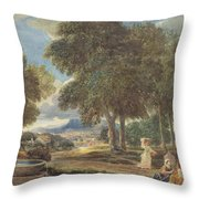 Landscape With A Man Washing His Feet At A Fountain Throw Pillow