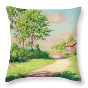 Landscape With A Red Cottage Throw Pillow