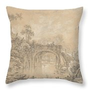 Landscape With A Rustic Bridge Throw Pillow