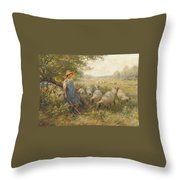 Landscape With A Shepherdess Throw Pillow