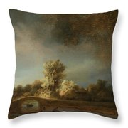 Landscape With A Stone Bridge Throw Pillow