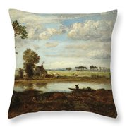 Landscape With Boatman Throw Pillow