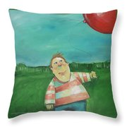 Landscape With Boy And Red Balloon Throw Pillow