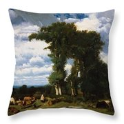 Landscape With Cattle At Limousin 1837 Throw Pillow