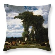 Landscape With Cattle At Limousin Throw Pillow