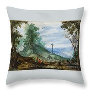 Landscape With Cattle Herd And Rider Throw Pillow