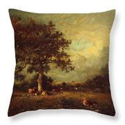 Landscape With Cows 1870 Throw Pillow