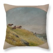 Landscape With Cows Throw Pillow